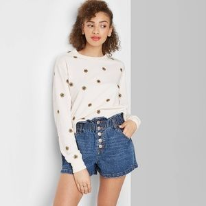 High rise button front paper bag waist jean shorts